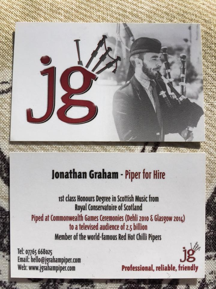 New JG business cards have arrived! – JGraham Piper